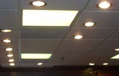acoustical ceiling with inset lights